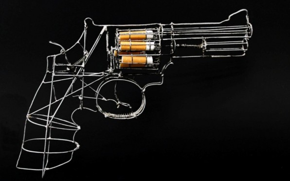 Gun - Spencer Hanson, 2013 - This amazing wire sculpture can actually shoot its bud bullets.