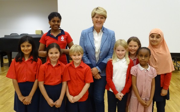 Clare Balding with pupils from JAGS Prep & Bessemer Grange Primary.