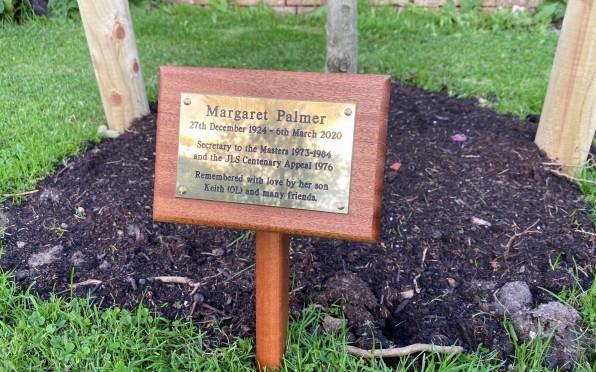 Margaret Palmer memorial tree plaque