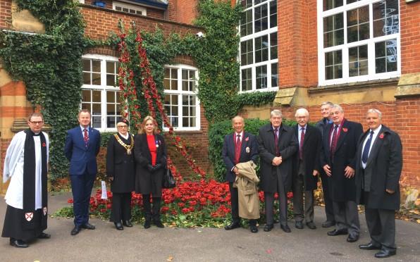 Rev. Mark Barker, Mayor of Tonbridge & Malling Councillor, Mrs Pam Bates & some of our Old Juddians