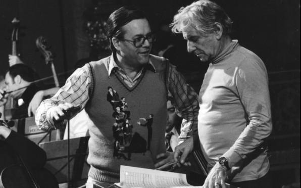 With Leonard Bernstein, Photo by Siegfried Lauterwasser with kind permission of Unitel