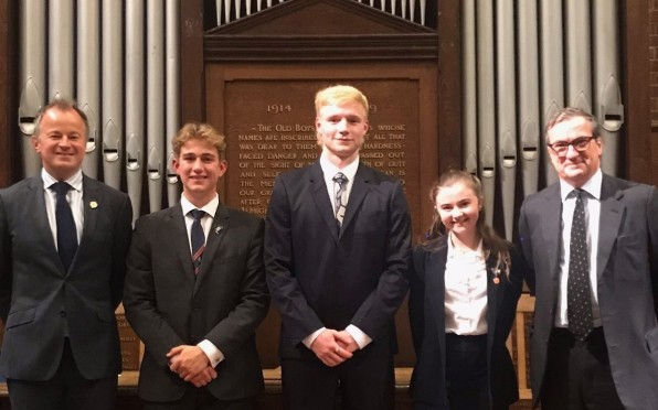Zak Skinner with the Headteacher, Chair of Governors and Deputy Head Boy and Girl