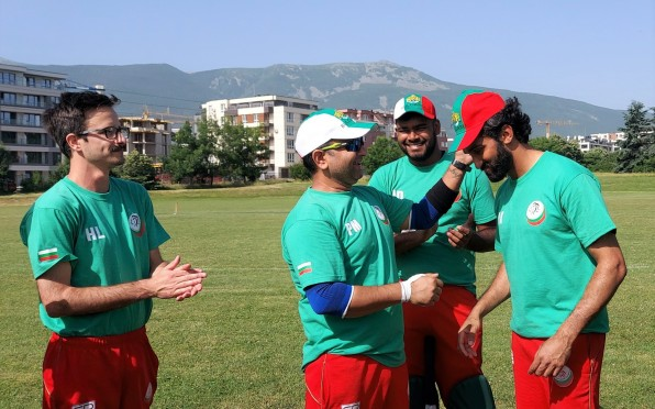Aswad receiving his first cap for Team Bulgaria Cricket