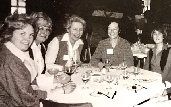 Maureen Sharman (far left) at a Holly Club lunch with Jane Ross (far right)