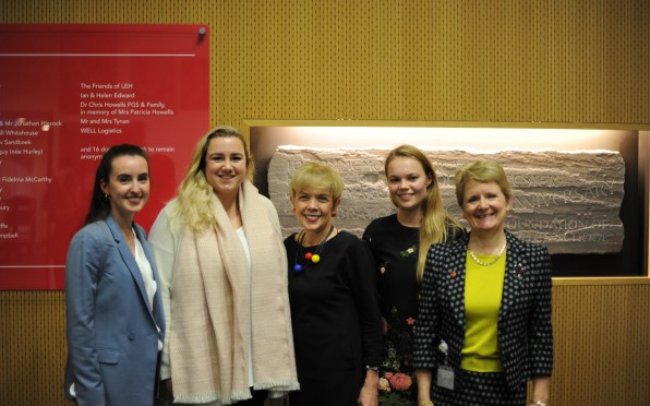 Sue Owen with Head Mistress Heather Hanbury and LEH Alumnae