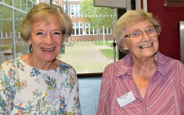 Sheila Leach, seen here on the right, with fellow 1949 classmate Stella Stephens