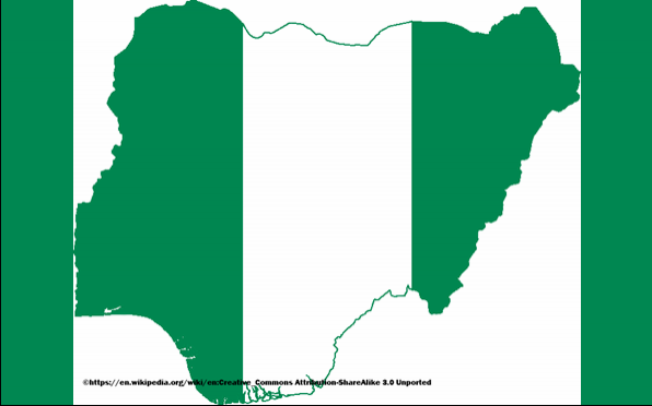 Outline map of Nigeria depicted in the country's flag. A bicolour triband of green, white and green