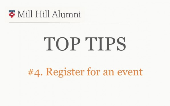story image for Top Tips 4 - Register for an Event