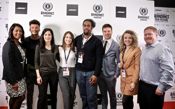 Leanne Bailham (pictured, fourth to the left) with the cast/crew