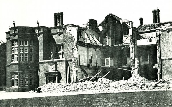 The front of the School after the Luftwaffe bombed areas of East Anglia (May 1943)