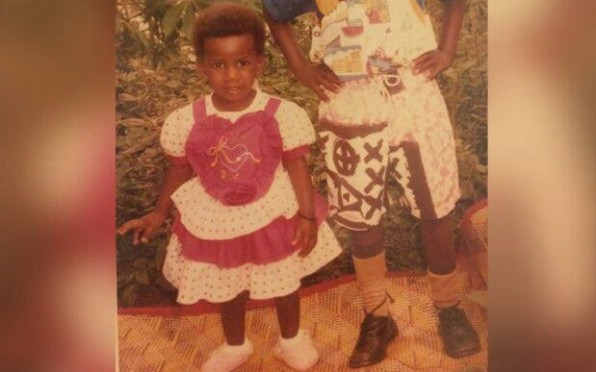 My older brother and I modelling mum's designs