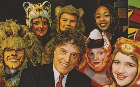 Tom Stoppard (51-54) with performers at the opening of the Tom Stoppard Theatre