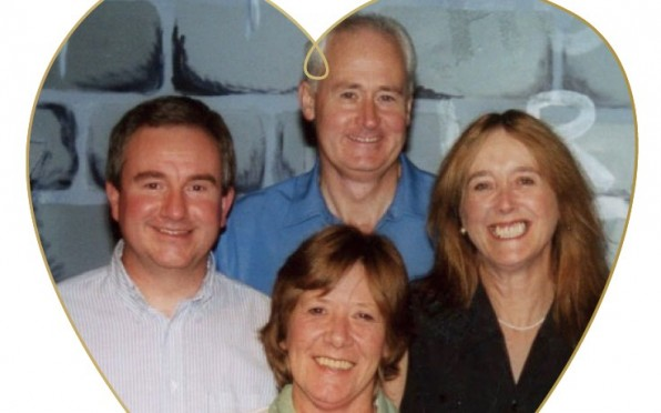 Carolyn (front, centre) is pictured with Alex Darkes and Pat & Moira Weir