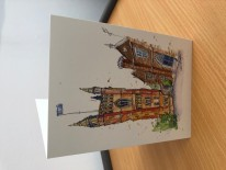 The Soaring Redbrick Tower Greetings Card