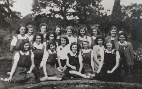 Daphne's year group around the Rose Garden pond