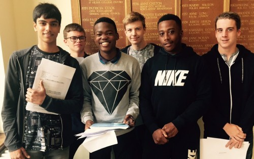 Happy Year 11 students on GCSE Results Day