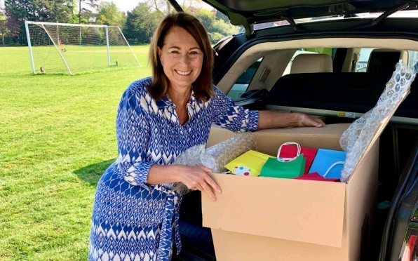 Carole Middleton delivers goody bags to Help NHS Heroes