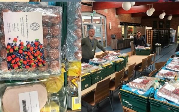 Reading School staff preparing food donations