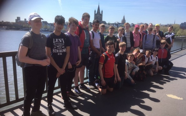 RGS boys with St Peter's Cathedral in the background