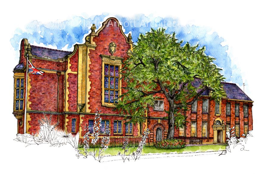 Pack of 3 Perrins Hall Cards (A5)