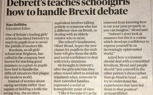 story image for Debrett's visit in the Sunday Times