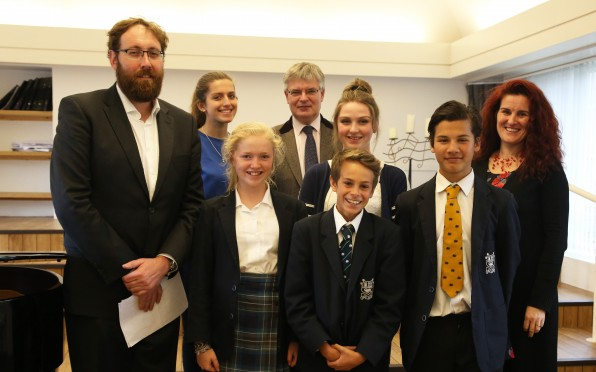 Matthew Rose with students and staff at Seaford College