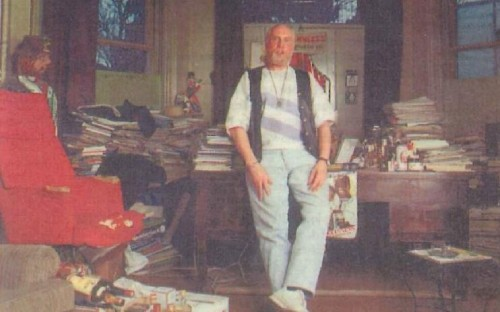 Tim Patton pictured in his study of 'planned chaos'