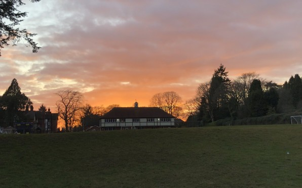 Sunset over the Auden Centre from Top Field