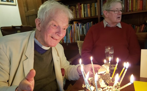 """The Revd. Willy Pryor aka """"Great Uncle Bulgaria"""" pictured here celebrating his 81st birthday."""