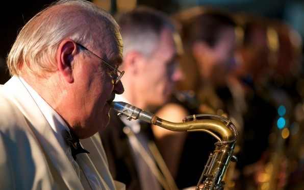 Richard 'Gunner' Balding (1978-2004) 1944 - 2021, with his Big Band at the Red and White Ball 2014