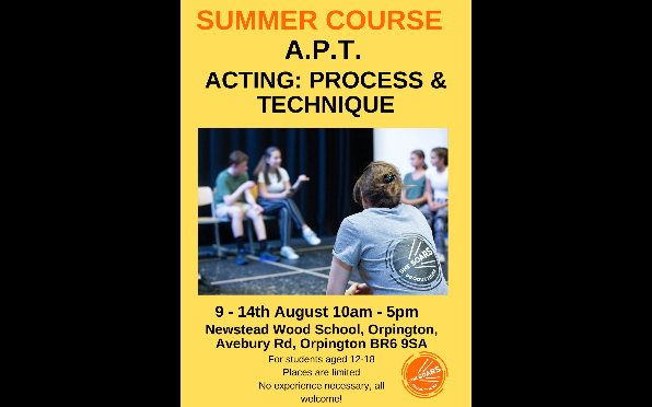 SUMMER COURSE, ACTING: PROCESS & TECHNIQUE: A.P.T. 9th-14th August 2021