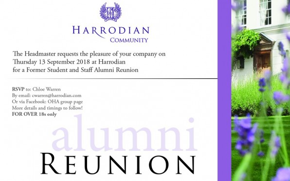 Invitation to our Harrodian Alumni Reunion