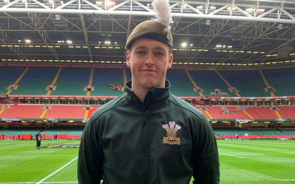 Luke Jennings representing The Royal Welsh at Cardiff's Principality Stadium, Wales vs France 2020
