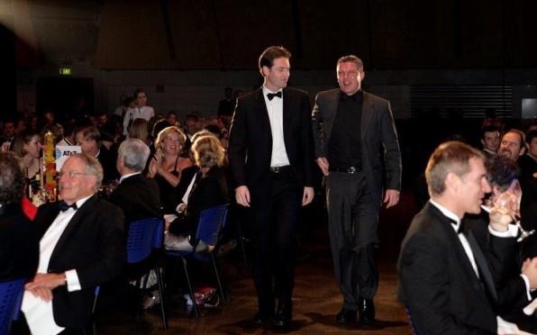 Derek (left) receiving Telecommunications Users of New Zealand award for Education (2005)