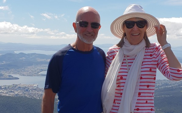 Colin and his wife Susan on Mount Wellington during cruise to Tasmania