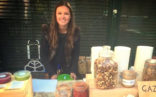 Hannah selling her Hummus