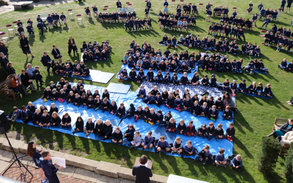Whole school assembly...socially distanced in bubbles