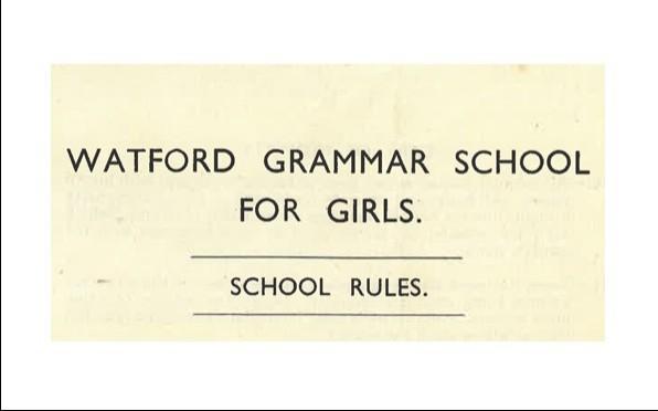 WGGS School Rules 1945