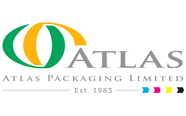 Atlas Packaging logo featuring CMYK colours