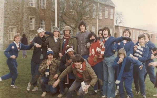 """West Buckland School, Exmoor run. 1976. Our famous """"Band on the run"""" pose as we leave WB on The Long"""