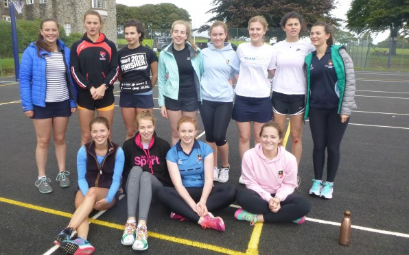 Standing L-R Kate Williams, Charlotte Woodman, Issy Wilson-North, Flossy Wheeler, Molly Maskell, Luc