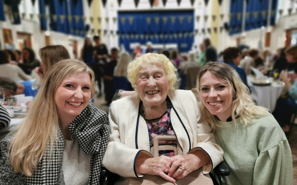 Peggy Hazel with granddaughters Felicity and Verity