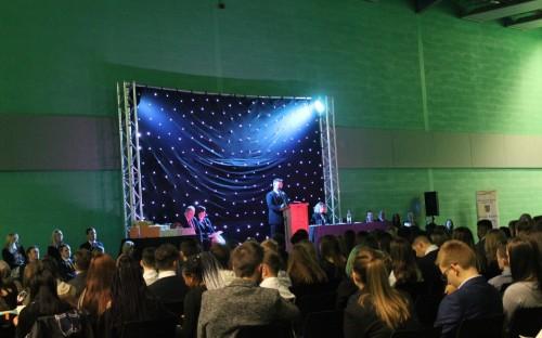 Headteacher, Mr S Lanckham, opening the Awards Ceremony