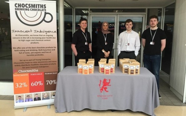 Sixth Formers with their Chocsmiths stand