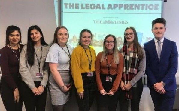 Year 12 law students at the start of the competition
