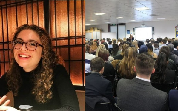 Left: Katie Seymour. Right: Katie talking at Year 12 Assembly