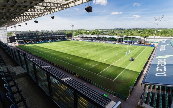 View of the Worcester Warriors Sixways Stadium from the stands, on a sunny day