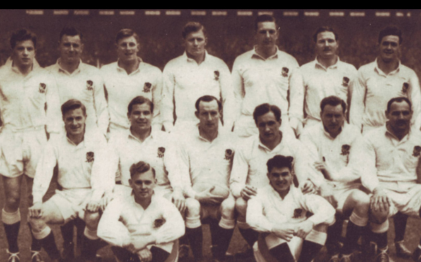 England XV 1955 (Nim Hall, centre middle; Jeff Butterfield, back left)