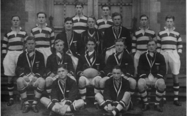 Worksop College 1st XV 1936-1937, Ian Pinkney is front left (cross legged)