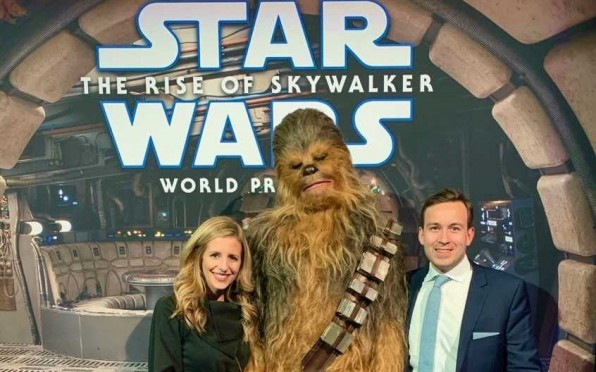 Chris Coxall R'02 with wife Lindsey at Star Wars Premiere